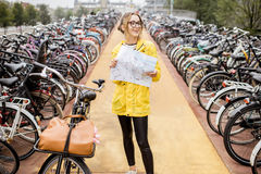 Woman on the bicycle parking in Amsterdam Royalty Free Stock Image