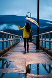 Young woman in a yellow raincoat standing under an umbrella on a rainy day by the ocean. stock photo