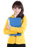 Young woman in yellow suit with the office folder. Royalty Free Stock Images