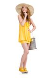 Young woman in yellow summer dress isolated on Royalty Free Stock Photos