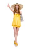 Young woman in yellow summer dress isolated on the Royalty Free Stock Photos