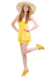 Young woman in yellow summer dress isolated on the Stock Image