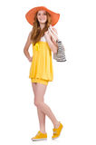 Young woman in yellow summer dress isolated on the Royalty Free Stock Photography