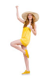 Young woman in yellow summer dress isolated on Stock Photo