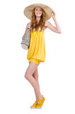 Young woman in yellow summer dress isolated on Royalty Free Stock Photo