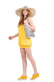 Young woman in yellow summer dress isolated on Royalty Free Stock Images