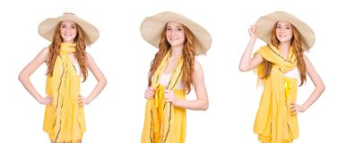 The young woman in yellow summer dress isolated on white. Young woman in yellow summer dress isolated on white Royalty Free Stock Image