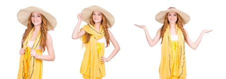 The young woman in yellow summer dress isolated on white Royalty Free Stock Image