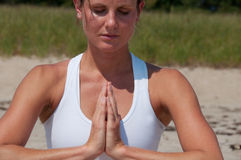 Young Woman Yoga Hand Position Stock Image