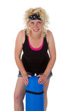 Young woman with yoga mat Stock Image