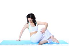 Young woman in yoga pose Royalty Free Stock Photo