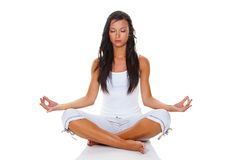 Young woman in yoga training. A young woman in yoga training. Relaxation through mantal training Stock Image