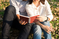 Young woman and young man hugging and holding notebook  Together. Young woman and young man hugging and holding notebook Together sitting in public garden autumn Royalty Free Stock Images