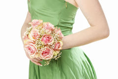 Young womanholding bouquet of pink roses Stock Images