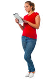 Young womanl using tablet pc Royalty Free Stock Photos