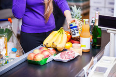Young womanr in supermarket Stock Photography