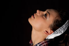 Young Womans face from the side Royalty Free Stock Photos