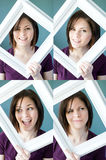 Young womans framed expressions Stock Photo