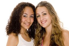Young Women. Two attractive young women on white background Royalty Free Stock Photography