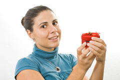 Young women. Accepting a present Stock Photography