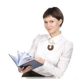 Young women. With book on white background Royalty Free Stock Photography
