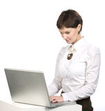 Young women. Portrait of young women with laptop on white background Royalty Free Stock Photo