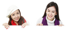 Young Women Above Blank Space Stock Photography