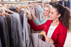 Young women at the apparel store Stock Photo