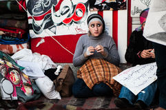 Young women in the Arab revolution. In Tahrir Square Royalty Free Stock Photos