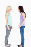 Young women arguing. In a studio Stock Photography