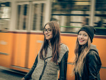 Young women around the city Stock Images