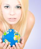 The young women asks to save the planet Royalty Free Stock Photo