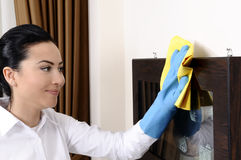 Young women badroom cleaning Royalty Free Stock Photos