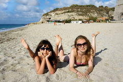 Young women on a beach in Italy Royalty Free Stock Photos
