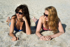 Young women on a beach in Italy Stock Photos