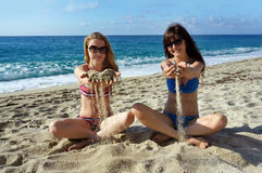 Young women on a beach in Italy Stock Photo