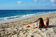Young women on a beach in Italy Royalty Free Stock Images