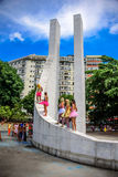 Young women in bright tutu skirts standing at the Memorial Getulio Vargas, Gloria neighborhood at Carnaval 2017 Royalty Free Stock Photography