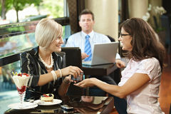 Young women in cafe Royalty Free Stock Photo
