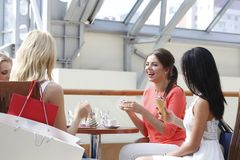 Young women in cafe Royalty Free Stock Photos