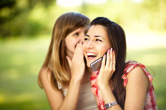 Young women on cell phone. Stock Photos