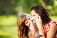 Young women on cell phone. royalty free stock photo