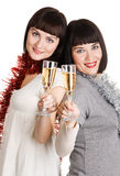 Young women with champagne glasses Royalty Free Stock Photo