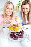 Young women choosing cupcakes Royalty Free Stock Photo