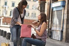 Young Women in the city after Shopping Royalty Free Stock Photo
