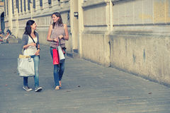 Young Women in the city after Shopping Stock Photos