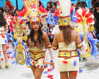 Young Women in Colorful Costumes in Carnival Parade Royalty Free Stock Photography