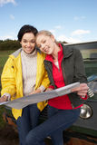 Young women on country drive Stock Photo