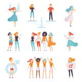Young Women of Different Nationalities Set, Girls Advocating for Gender Equality, Freedom, Civil Rights, Independence. Vector Illustration on White Background royalty free illustration