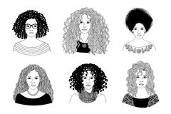 Young women with different types of curly hair. Hand drawn black and white illustration of six young women with different types of curly hair stock illustration